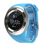 For Android For IOS Tiean 2018 Bluetooth Smart Watch Phone Mate Full Round Screen SIM (Blue)