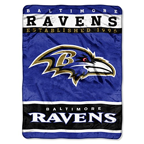 The Northwest Company Officially Licensed NFL Baltimore Ravens 12th Man Plush Raschel Throw Blanket, 60