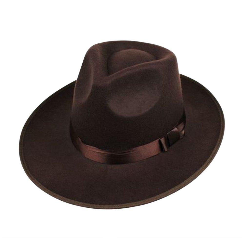 Alician Men Wool Felt Fedora Hat Bowler Hat Classic Wide Brim Jazz Cap