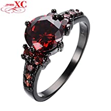 Slyq Jewelry Cute Ruby Jewelry Women Fashion Wedding Ring anel Vintage Black Gold Filled Red CZ Crystal Band Engagement Ring for L RB0005