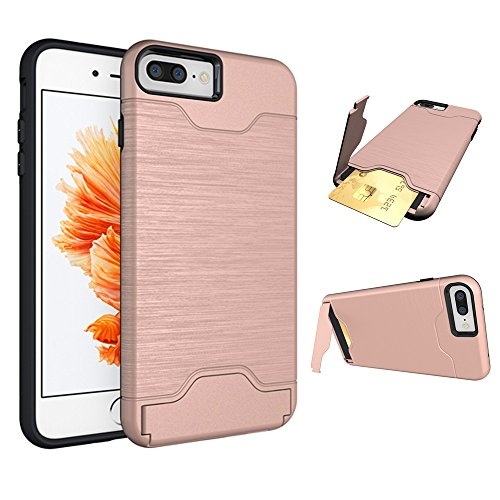 Se7enline iPhone 8 Plus Case, iPhone 7 Plus Case, Impact Resistant Card Holder Case for iPhone 8 Plus/7 Plus Kickstand Protective Hard Shell Shockproof Card Solt Wallet Case for Girls Rose Gold