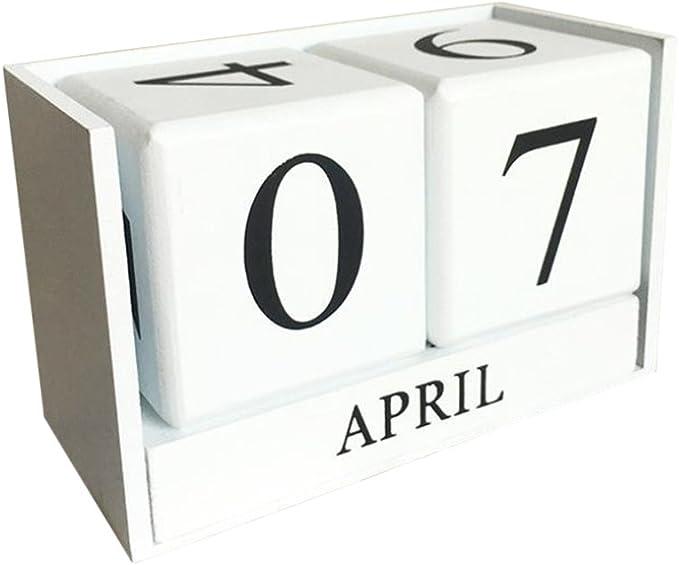 fllyingu Perpetual Calendar Vintage Wooden Calendar Desktop Time Concept Wood Perpetual Block Month Date Display Home Office Decoration