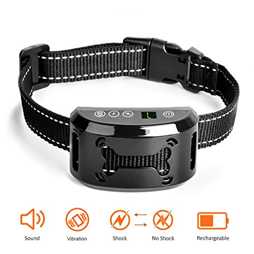 Dog Bark Collar - No Bark Collar - Stop Barking with Beep/Vibration/Harmless Shock, Rechargeable and Waterproof Humane No Bark Control for Small Medium and Large Dog (black-01)