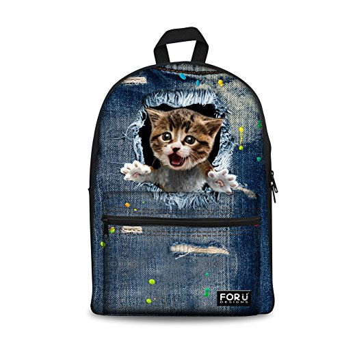 Bigcardesigns Cute Cat Animal DIY Canvas Backpack Travel Bag Young - Back Pack Diy