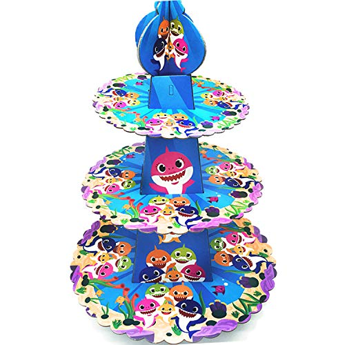 3 Tier Baby Cute Shark Cardboard Cupcake Stand Dessert Cupcake Holder for Kids Birthday Party, Baby Shower, Gender Reveal Party, Baby Shark Themed