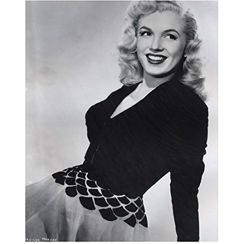 Marilyn Monroe Photo 8 inch x 10 inch PHOTOGRAPH B&W Pic Some Like it Hot How to Marry a Millionaire Leaning Back on Left Hand Fish Scale Design on Waist ()