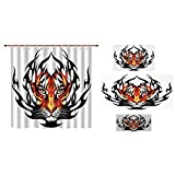 Bathroom 4 Piece Set Shower Curtain Floor mat Bath Towel 3D Print,Tattoo Decor,Jungles Prince Tigers Head in Black Flames Frame Looking with Cat Eyes,Black and Orange,Picture Print Design.