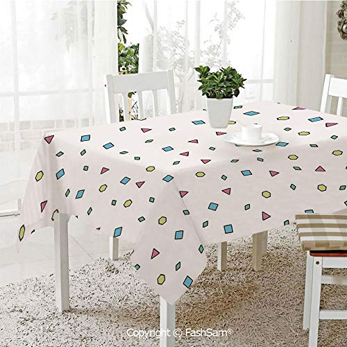 Premium Waterproof Table Cover Colorful Mosaic Pattern with Geometric Shapes in Memphis Style Artistic Doodle Print Washable Table Protectors for Family Dinners(W60 xL84) -
