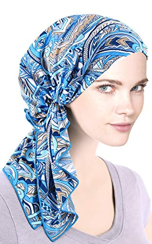 The Bella Scarf Chemo Turban Head Scarves Pre-Tied Bandana for Cancer Beige Blue Abstract