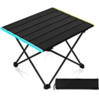 Smilee Portable Camping Table, Small Ultralight Folding Table with Aluminum Table Top and Carry Bag, Easy to Carry…
