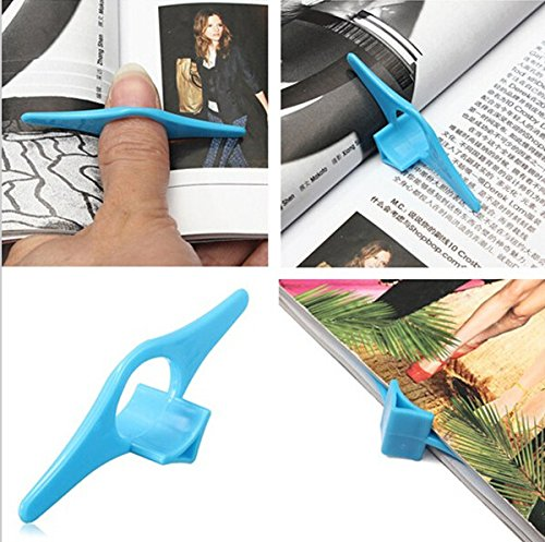 Tiptiper Bookmarks Page Holder, 4PCS Multifunction Plastic Thumb Book Marker Finger Ring Reading Assistant