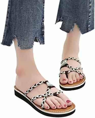 e46599efa vermers Clearance Sale Women Flip Flops - Fashion Knit Knots Flat Heel  Round Toe Sandals Beach