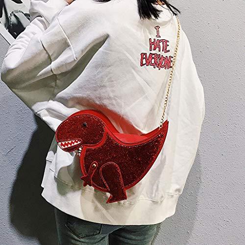 Dinosaure Femmes Fogun Chaîne De Bourse Mini Fille En amp;paillette À Rouge Pu Sac Paillette Cuir Rivet Bandoulière Forme D'embrayage r0qxdqwgH