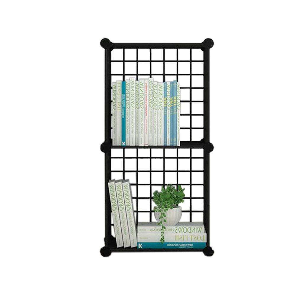 Black 14.5614.5629.92in JCAFA Shelves Bookshelf Iron Mesh Metal Frame Cube Storage Box Shelving Bookcase DIY Closet Organizers Living Room Bedroom Office (color   Black, Size   14.56  14.56  57.87in)