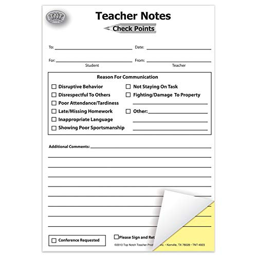 Top Notch Teacher Products TOP4920BN Check Points Teacher Notes, Carbonless, 50 Per Pack, 6 Packs]()