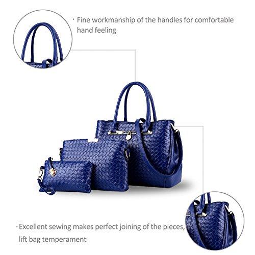 NICOLE&DORIS nuevo de las mujeres del bolso de hombro de 3 pedazos bolso de cuero bolsa de asas del monedero de la PU bolsas del conjunto(Black) Blue