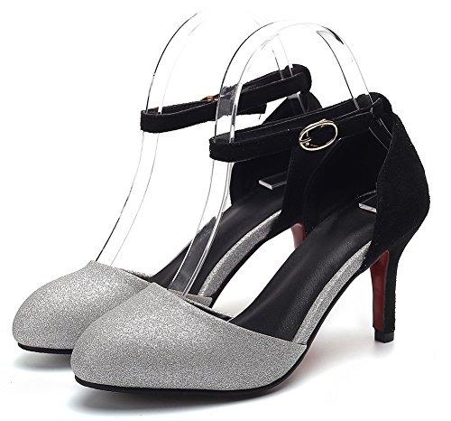 Boucle Cheville Bride Aisun F Sandales Sexy Paillettes Femme Noire BWg7q