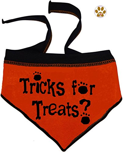Tricks for Treats Bandana Scarf with Pin for Dogs in color Orange -Sizes Small thru Large (Large- fits Neck 15