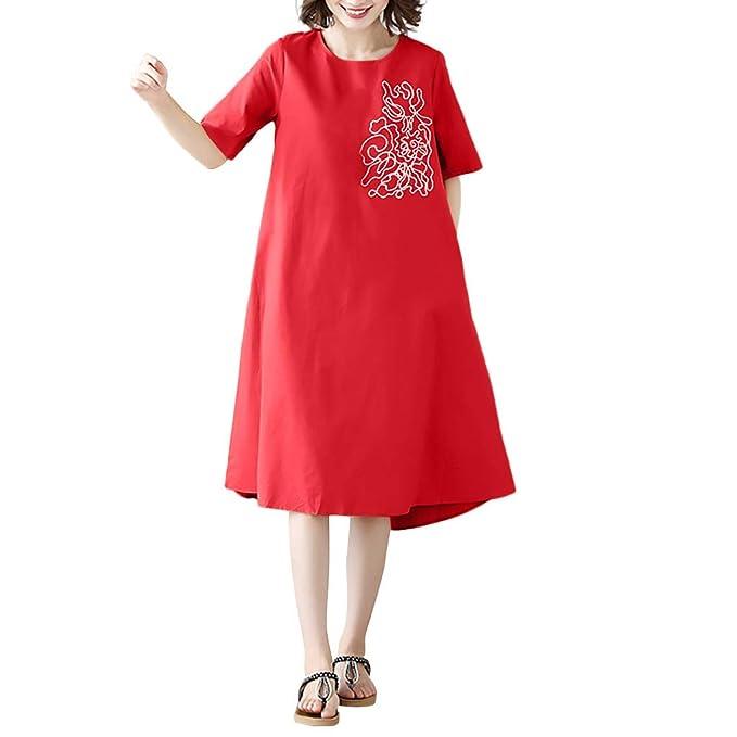 Amazon.com: Vestido de lino y algodón para mujer, tamaño ...