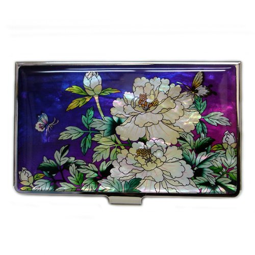 Antique Alive Mother of Pearl Peony Painting Design Purple Business Credit Card Holder Wallet (B109)