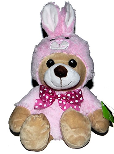 Bunnies Fluffy Pink (Stuffed Bear in Pink Bunny Suit Outfit Stuffed Animal Plush Easter 13 inches long)