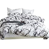Elephant Soft 3pc Full/Queen Duvet Cover Set, Zipper, White Gray Marble Deal (Small Image)