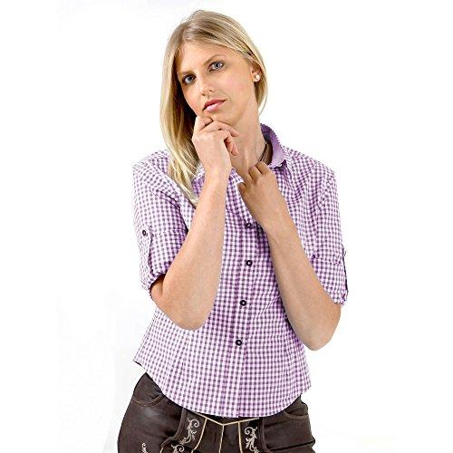 Almbock Trachtenbluse Jessie lila in Größe 34 36 38 40 42 44 - Karo-Trachtenbluse in lila, perfekt zur bayrischen Trachten-Lederhosen für Damen