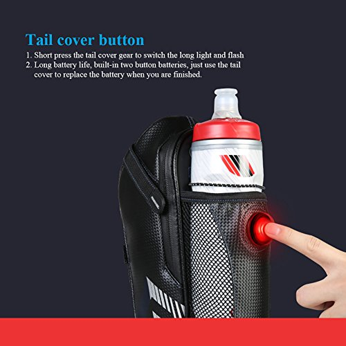 Bike Saddle Bag, MTB Rear Light Rear Seat Bag - Road Bike Waterproof Cushion Bag - Polyester Saddle Bag with Pocket Water Bottle - Bicycle Seat Back Pocket Repair Tool Pocket Bag by Roswheel (Image #5)