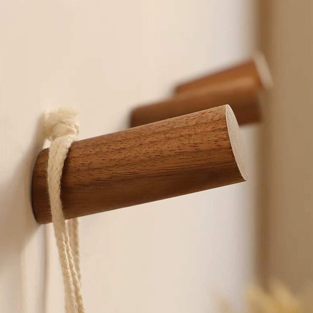 Beech 6 Pieces Natural Wooden Coat Hooks Wall Mounted Single Coat Rack Hooks Handmade Craft Hat Rack Vintage Single Organizer Hangers Hooks
