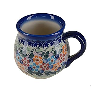 BCV Classic Boleslawiec, Polish Pottery Hand Painted Ceramic Mug, Barrel (250, U-008)