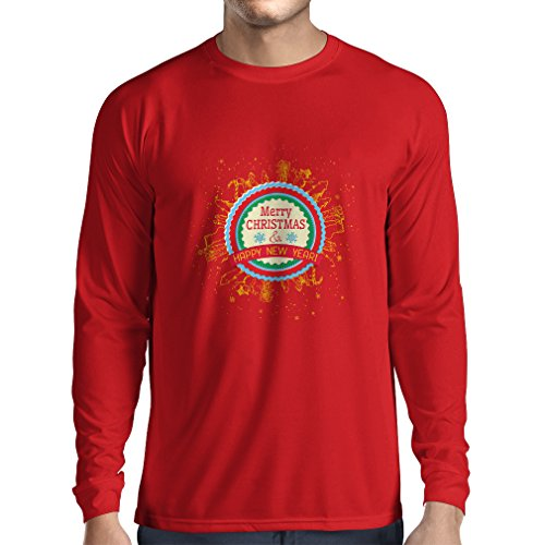 lepni.me Men's T-Shirt Merry Christmas and Happy New Year - Holiday Outfits (Large Red Multi Color) -