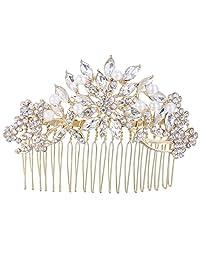 Ever Faith Gold-Tone Austrian Crystal Cream Simulated Pearl Flower Leaf Hair Comb Clear A13537-3