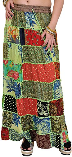 Exotic India Long Printed Dori Skirt from Gujarat with - Color Pistachio