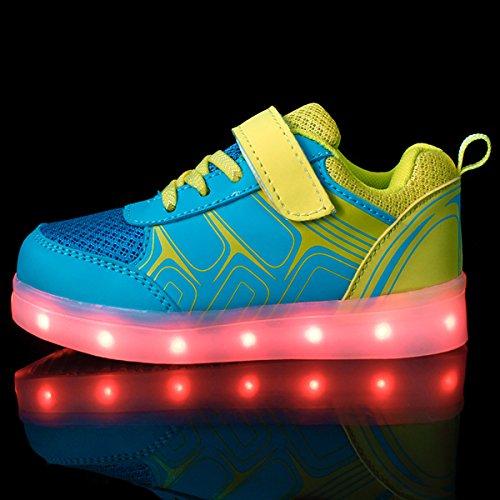 DoGeek LED Schuhe Kinder Damen 7 Farbe USB Aufladen Leuchtend Sportschuhe LED Kinder Farbwechsel Sneaker Turnschuhe Für Herren Damen (Wählen Sie 1 größere Größe