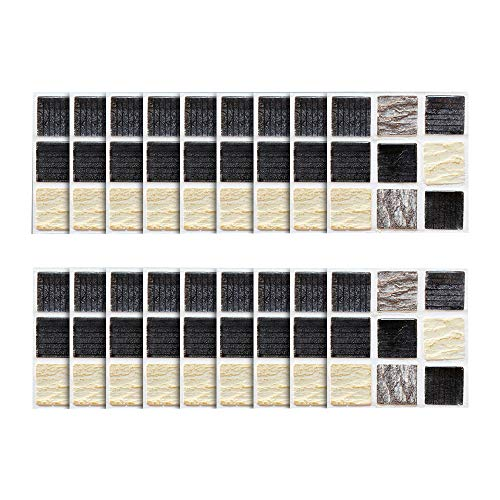 Theshy 18Pcs Self Adhesive Waterproof Black Marble Mosaic Wall Art Kitchen Tile Sticker Frosted Marbled Mosaic Waterproof Wall Sticker -