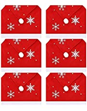 Christmas Chair Back Covers Decorations Protector, Red Chair Slipcovers 6 Set of Santa Claus Hat Xmas Chair Seat Slip Cover for Christmas Dining Room Kitchen Party Decoration Ornament (Color : A)