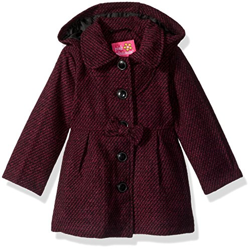 Pink Platinum Baby Girls Hooded Textured Wool Coat, Fuchsia, (Textured Wool Coat)