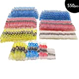 550PCS Solder Seal Wire Connectors, Heat Shrink Butt Connectors, Waterproof Insulated Automotive Marine Copper Wire Connectors(120White 230Red 165Blue 35Yellow)