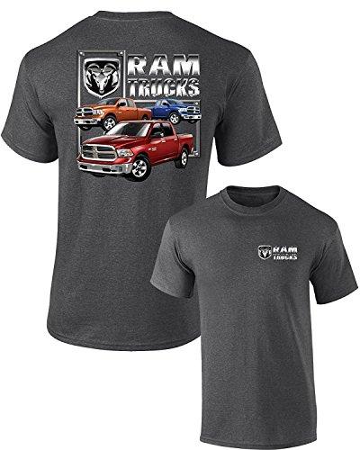 - Dodge T-Shirt RAM Trucks (3 Trucks) F&B Guts Glory, Heather Gray, L