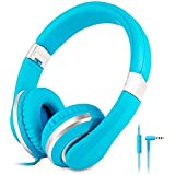 Reetec Hi-Fi Stereo Foldable Lightweight Earphones 3.5mm Headsets for Kids Wired Headphones with Microphone for Cell Phones PC iPhone Laptop Tablet Mp4 Mp3 (Blue)