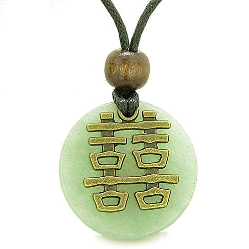 Double Happiness Feng Shui Amulet Fortune Powers Green Quartz Coin Medallion Pendant Necklace - Double Happiness Jewelry