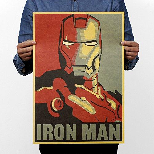 Iron Man Movie Poster - Iron Man Poster - Team Iron Man Poster - Iron Man Comic Avatar Poster / Rock Poster / Kraft Paper Bar Decorative Painting 51x35cm /150g Retro Paper/