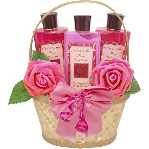 Rose Sympathy Gift Basket - Dipped in Luxury Spa Bath and Body Set Gift Basket (Rose Scented) 3 Piece Kit with Shower Gel, Bubble Bath and Lotion, Bathset for Women, Teen and Tween Girls