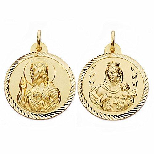 Médaille pendentif 28mm or 18k Scapulaire Vierge Carmen Coeur de Jésus [AA2468]