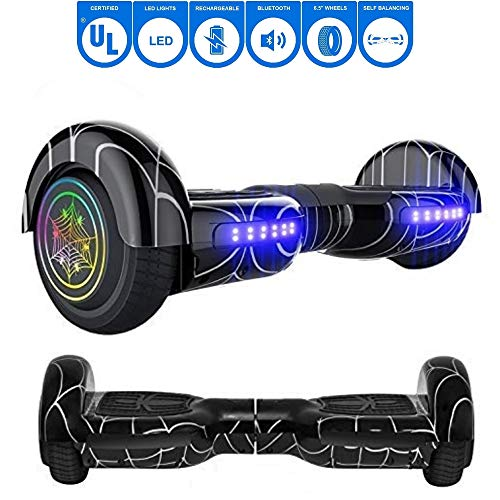 NHT 6.5' Spider Web Edition Electric Hoverboard Self Balancing Scooter with Built-in Bluetooth Speaker LED Lights - UL2272 Certified