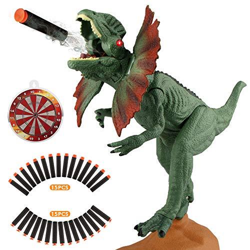 EpochAir Dinosaur Toys Electronic Shooter Gun Dilophosaurus Realistic Model Assorted Dinosaur Figures with Roaring Sound and Lights ()