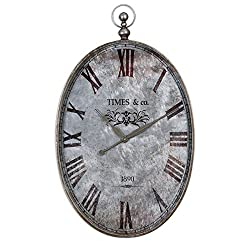 Oval Pocket Watch 21W Hanging Clock Brushed Aluminum Dimensions: 20.75W X 2.375D X 34.5H Weight: 14 Lbs