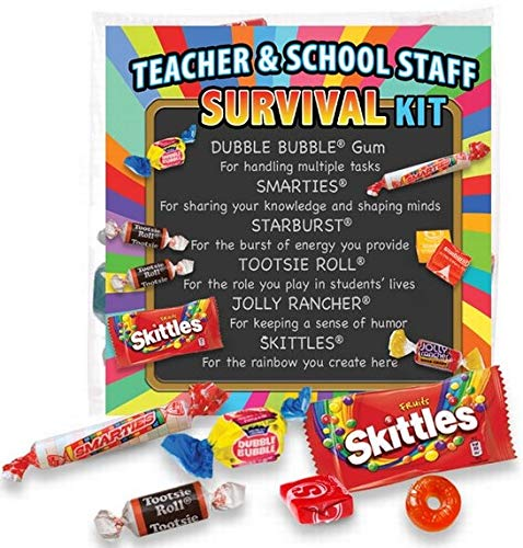 Teacher Appreciation & School Staff Survival Kits (12 per Set) Fun Candy Treat Gift Kit Idea for Teacher Appreciation Week by Promos On-Time (Image #1)