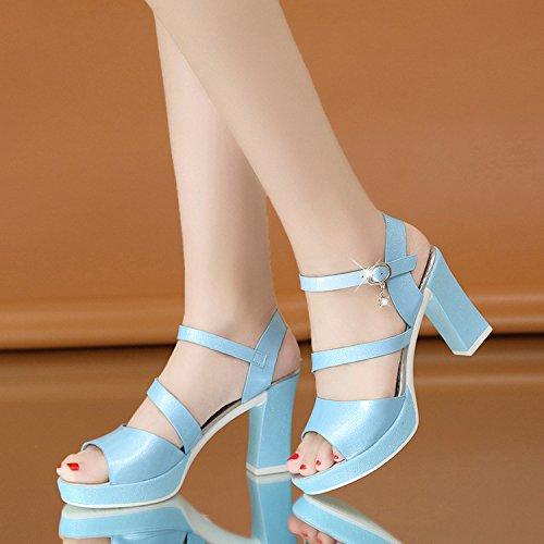 Confortables Yalanshop paisses Chaussures Femmes 37 Des Aiguilles Et Talons Pour Bleu Avec gBrgqU4