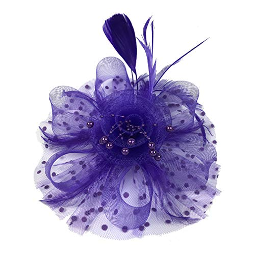 JK Home Fascinators Hat for Women Tea Party Headband Kentucky Derby Wedding Flower Mesh Feathers Hair Clip Purple]()